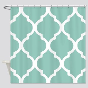Aqua Chic Moroccan Lattice Pattern Shower Curtain